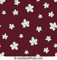 Seamless pattern of grape white leaves on maroon background.