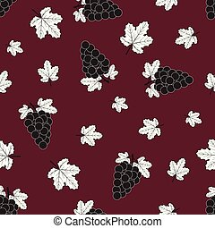 Seamless pattern of grapes and white leaves on maroon background