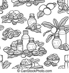 Seamless pattern of graphic essential oils decorated with ...