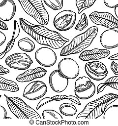 Seamless pattern of graphic shea plants. Vector design - ...