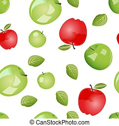 Seamless pattern of green and red apples with leaves. Vector illustration isolated on white background.