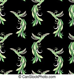 Seamless pattern of green fabulous birds
