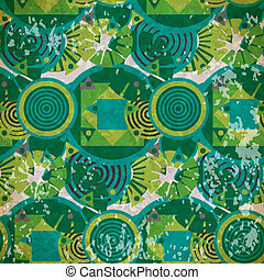 Seamless pattern of  green geometric shapes in vintage style