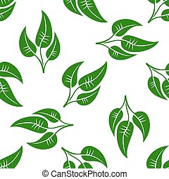 Seamless pattern of green leaves on white