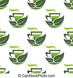 Seamless pattern of green organic tea