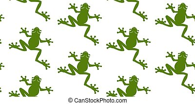 Seamless pattern of green silhouettes frogs