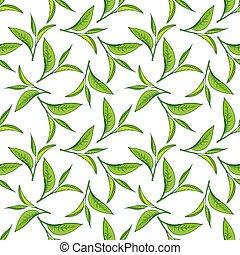 Seamless pattern of green tea leaves
