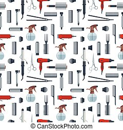 Seamless pattern of hairdresser objects in flat style isolated on white background. Hair salon equipment and tools logo icons, hairdryer, comb, scissors, hairclipper, curling, hair straightener