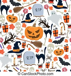 Seamless pattern of Halloween icons