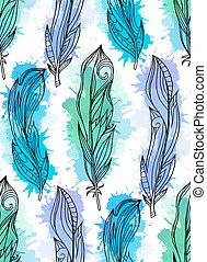Seamless pattern of hand drawn feathers with boho pattern with watercolor splashes. Tribal doodle background. Vector element for your creativity.
