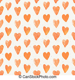 Seamless pattern of hand drawn red hearts