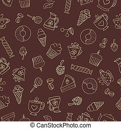 Seamless pattern of hand-drawn sweets icons