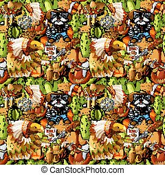 Seamless pattern of hand drawn wild west american cowboy indian icons filled