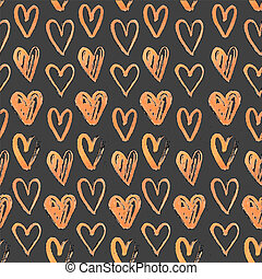 Seamless pattern of hand-painted hearts on a grungy background
