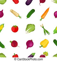 Seamless pattern of healthy vegetables, farm product. Cartoon flat style