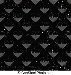seamless pattern of hearts in flame painted on grunge cement wall background with flame sparks - love concept
