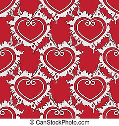 seamless pattern of hearts on a red background. Vector image