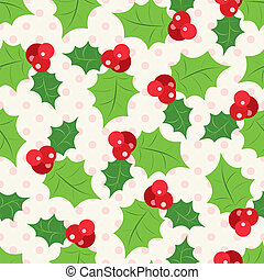 Seamless pattern of holly berry sprig. Vector illustration of christmas holiday design. Green and red colors.