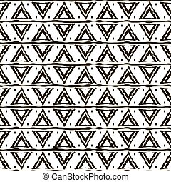 Seamless black and white pattern with ethnic motifs. Horizontal stripes, triangular shapes and dots. Abstract geometric ornament in hand drawing style. Vector illustration for modern design
