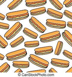 Seamless pattern of hot dogs