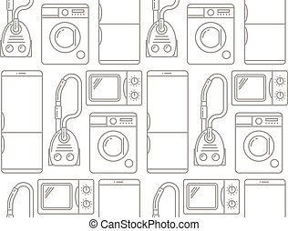 Seamless pattern of household electronics.
