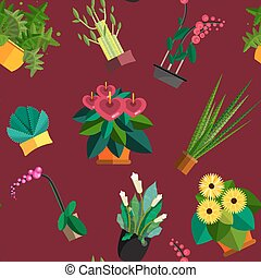 Seamless pattern of houseplants, indoor and office plants in pot. Dracaena, fern, bamboo, spathyfyllium, orchids, Calla lily, aloe vera, gerbera, snake plant, anthuriums. Flat seamless plants, vector icon set