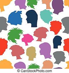 Seamless pattern of human profiles.