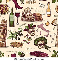 Seamless pattern of Italy