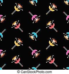 Seamless pattern of joyful cartoon little girls