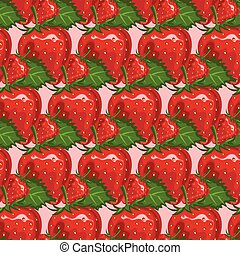 Seamless pattern of juicy strawberry. Vector illustration