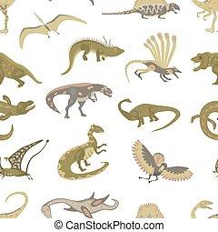Seamless pattern of Jurassic reptile