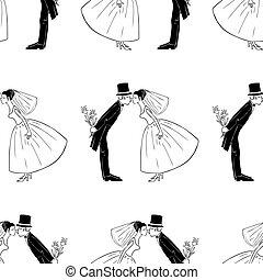 Seamless pattern of kissing newlyweds