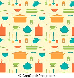 Seamless pattern of kitchen silhouettes