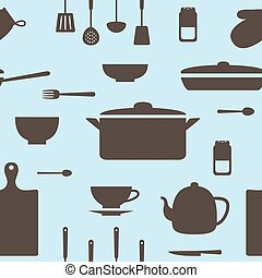 Seamless pattern of kitchen silhouettes
