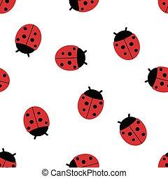 Seamless pattern of ladybugs.