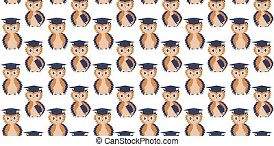 Seamless pattern of learned owls with textbooks under the...