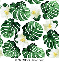 leaves monstera - Seamless pattern of leaves monstera and...