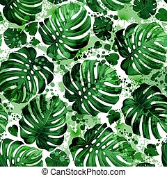 leaves monstera - Seamless pattern of leaves monstera with...