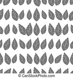 Seamless pattern of leaves on a white background.