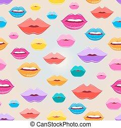 Seamless pattern of lips