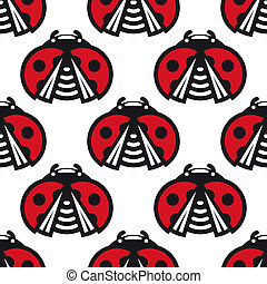 Seamless pattern of little spotted red ladybugs