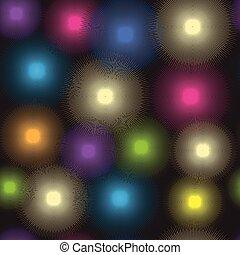 Seamless pattern of luminous colorful spots