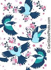 Seamless pattern of magpies and sakura. Spring mood. Vector graphics.