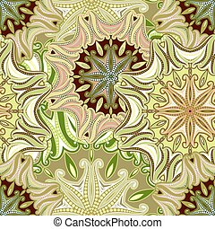 Seamless pattern of mandala with Oriental motifs