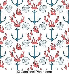 seamless pattern of marine symbols - Seamless patterns with...