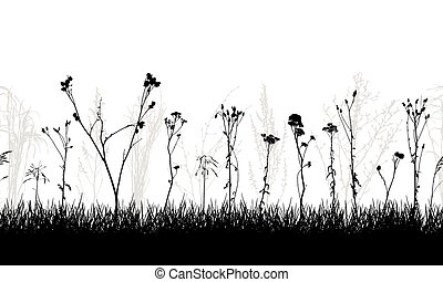 Seamless pattern of meadow with weeds and wild plants, silhouette. Vector illustration.