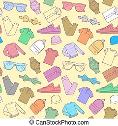 Seamless pattern of mens clothing items.
