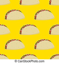 Seamless pattern of Mexican burrito with meat and vegetables on a yellow background. Vector image