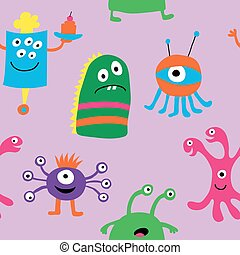 Seamless pattern of monsters on a purple background