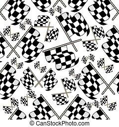 Seamless pattern of motor racing flags